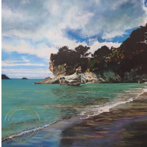 Original acrylic painting of Vibrant Cathedral Cove by Artist Kirsten McIntosh of Kirsten McIntosh Art.