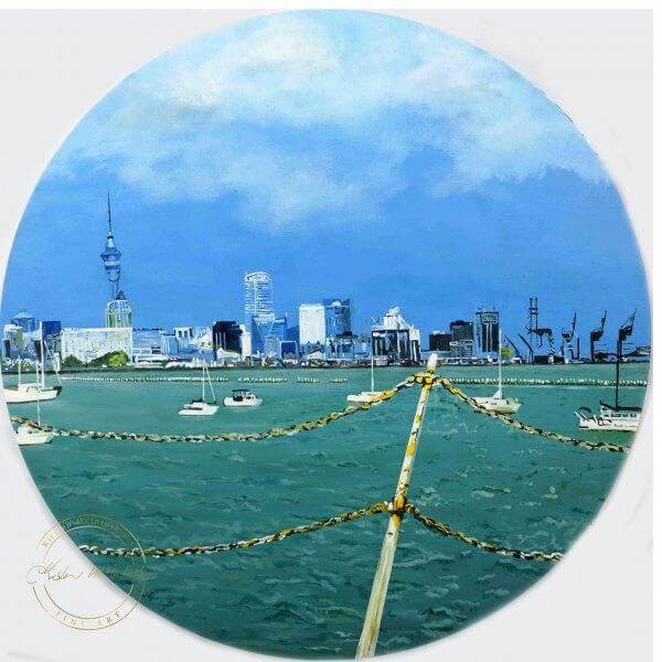 Original acrylic painting of City of Sails by Artist Kirsten McIntosh of Kirsten McIntosh Art.