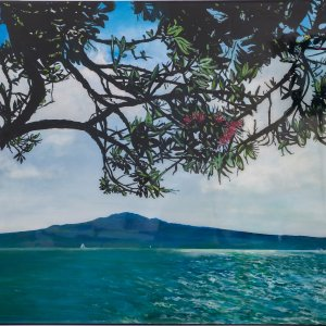 Original acrylic and resin painting of Pohutukawa over Rangitoto by Artist Kirsten McIntosh of Kirsten McIntosh Art.
