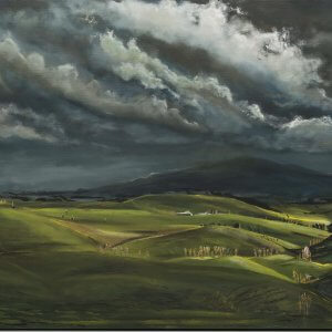 Original acrylic/oil painting of Rain over Taotaoroa Road and Maungatautari by Artist Kirsten McIntosh of Kirsten McIntosh Art.