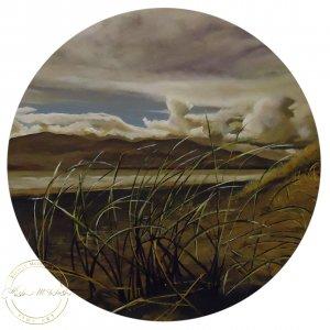 Original acrylic painting of Rugged Raglan Main Beach by Artist Kirsten McIntosh of Kirsten McIntosh Art.