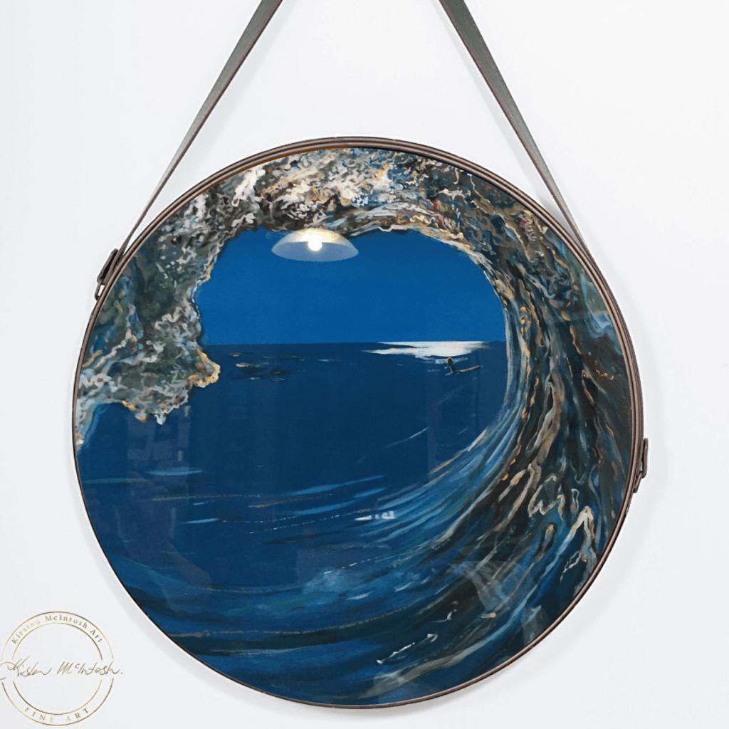 Original painting of 'West Coast Surf in Blue/Green Resin' by Artist Kirsten McIntosh of Kirsten McIntosh Art