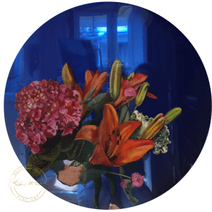 Original resin painting of Beautiful Bouquet by Artist Kirsten McIntosh of Kirsten McIntosh Art.