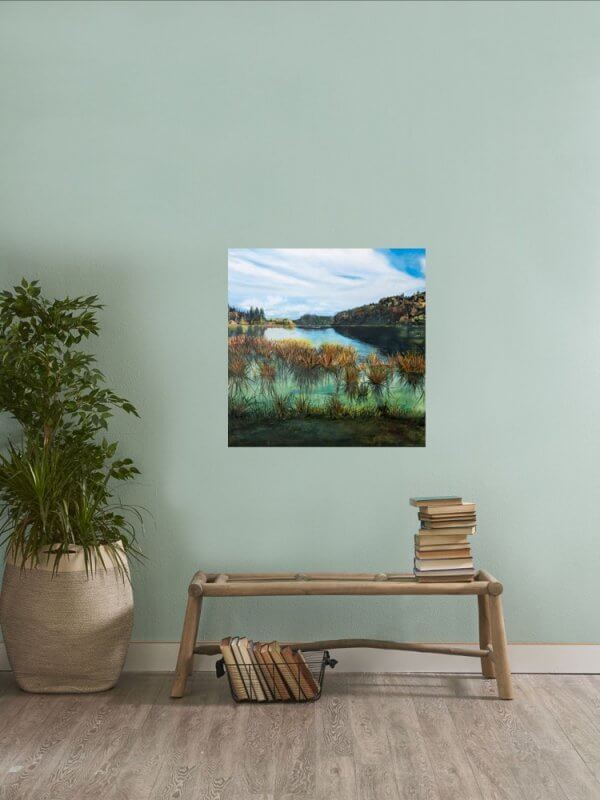 Original oil painting of Idyllic Lake Rotoehu by Artist Kirsten McIntosh of Kirsten McIntosh Art.