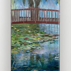 Iphone case with original painting of Waterlillies at Te Koutu by Artist Kirsten McIntosh of Kirsten McIntosh Art.