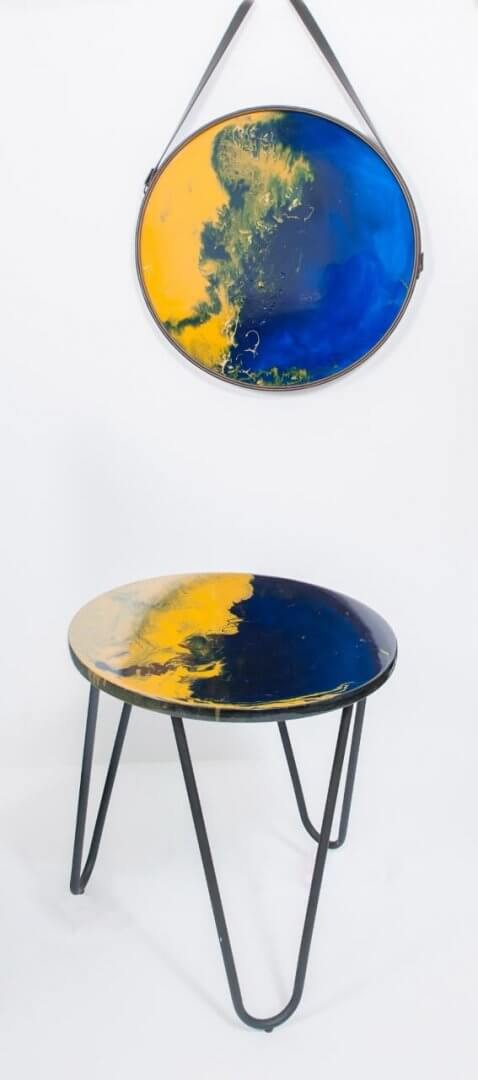 Original Wall Art and Table Top in Navy and Mustard Resin by Artist Kirsten McIntosh of Kirsten McIntosh Art.