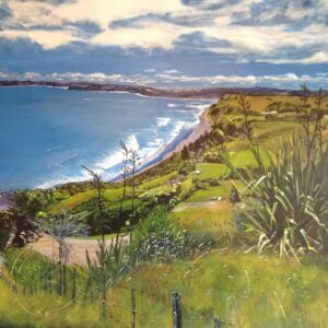 Original Acrylic Painting of 'Birds Eye View of Raglan' by Artist Kirsten McIntosh of Kirsten McIntosh Art
