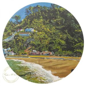 Original acrylic painting of Summer at Scorching Bay by Artist Kirsten McIntosh of Kirsten McIntosh Art.