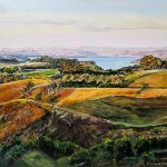 Original oil painting of Sunset on Raglan Hills by Artist Kirsten McIntosh of Kirsten McIntosh Art.