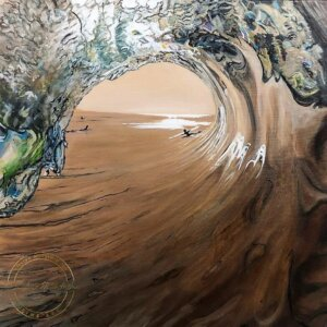 Original Acrylic Painting of West Coast Surf by Artist Kirsten McIntosh of Kirsten McIntosh Art