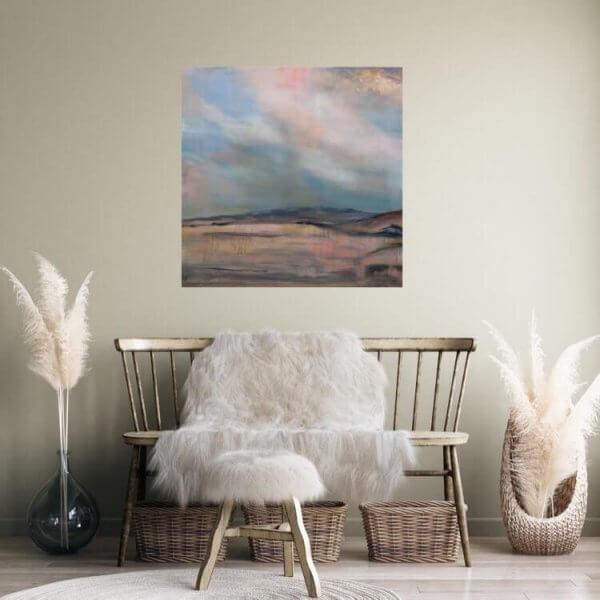 Original acrylic/oil painting of 'Pastel Shades of Maungatautari' by Artist Kirsten McIntosh of Kirsten McIntosh Art.