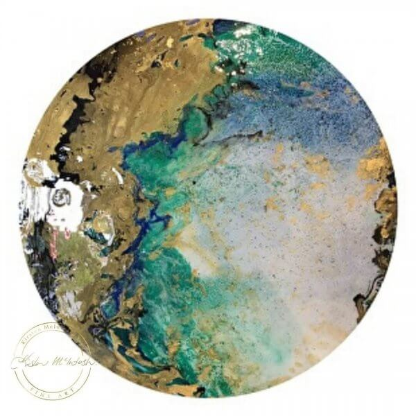 Original Contemporary Resin painting Specks of Gold by Artist Kirsten McIntosh of Kirsten McIntosh Art