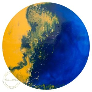Original contemporary poured resin painting 'Navy and Mustard' by Kirsten McIntosh of Kirsten McIntosh Art