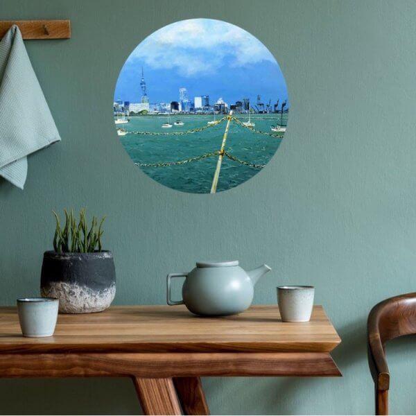 Original acrylic painting of City of Sails by Artist Kirsten McIntosh of Kirsten McIntosh Art.