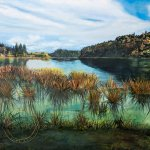 Original oil painting of Idyllic Lake Rotoehu by Artist Kirsten McIntosh of Kirsten McIntosh Art.