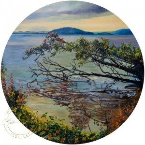 Original oil painting of Lake Edge - Rotorua by Artist Kirsten McIntosh of Kirsten McIntosh Art.
