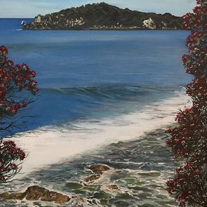 Original acrylic painting of Mauao Caught by the Morning Sun by Artist Kirsten McIntosh of Kirsten McIntosh Art.