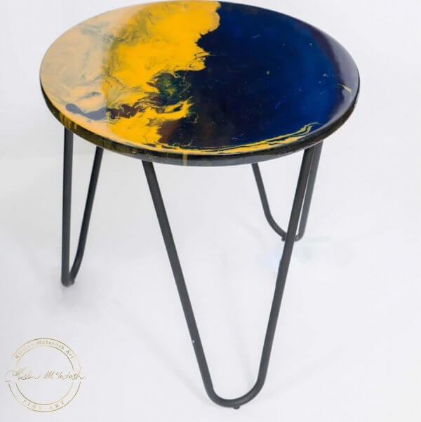 Original Contemporary Resin Table Top in Navy and Mustard by Artist Kirsten McIntosh