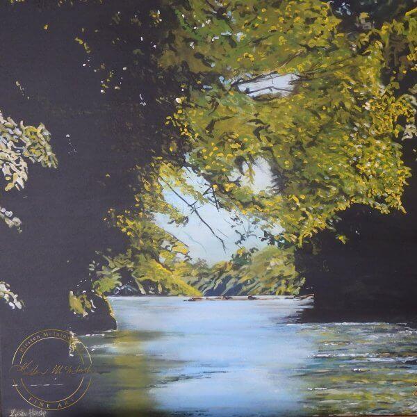 Original acrylic painting of River Take Me Home by Artist Kirsten McIntoshh of Kirsten McIntosh Art.