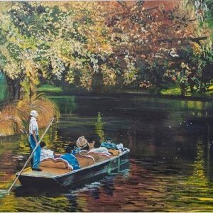Original acrylic painting of Summer on the Avon River by Artist Kirsten McIntosh of Kirsten McIntosh Art.