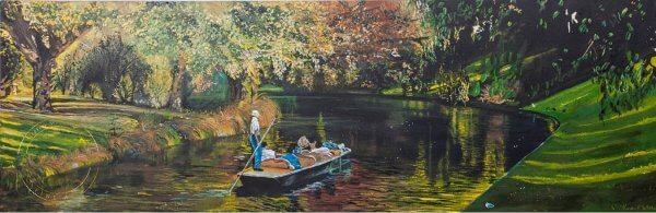 Original acrylic painting of Summer on the Avon River by Artist Kirsten McIntosh of Kirsten McIntosh Art.