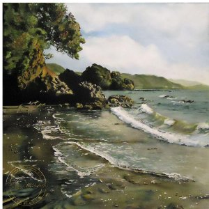 Original acrylic painting of Sunlit Surf by Artist Kirsten McIntosh of Kirsten McIntosh Art.