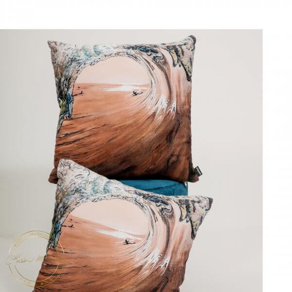 Limited Edition Cushions of West Coast Surf by Artist Kirsten McIntosh of Kirsten McIntosh Art