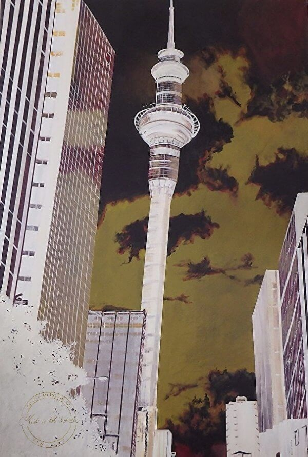 Original acrylic painting of Auckland Sky Tower Inverted by Artist Kirsten McIntosh of Kirsten McIntosh Art.