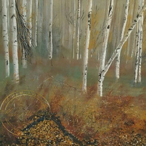 Original acrylic painting of Birches in Autumn by Artist Kirsten McIntosh of Kirsten McIntosh Art.