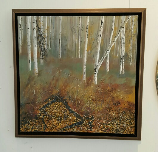 Original acrylic painting of Birches in Autumn by Artist Kirsten McIntosh of Kirsten McIntosh Art.