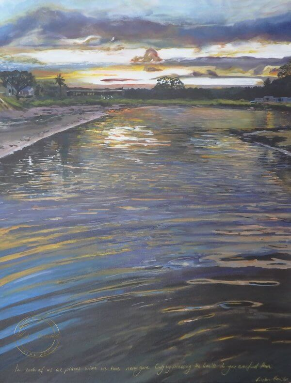 Original acrylic painting of Hot Water Beach Sunset by Artist Kirsten McIntosh of Kirsten McIntosh Art.