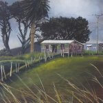 Original acrylic painting of Port Waikato Road Scene 1 by Artist Kirsten McIntosh of Kirsten McIntosh Art.