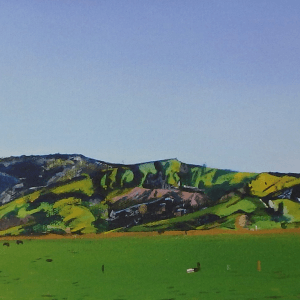 Original acrylic painting of Roto o Rangi Hills by Artist Kirsten McIntosh of Kirsten McIntosh Art.
