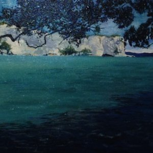 Original acrylic painting of Stingray Bay by Artist Kirsten McIntosh of Kirsten McIntosh Art.