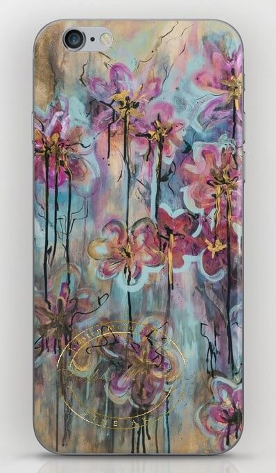 Iphone case with original painting of Vibrant Petals by Artist Kirsten McIntosh of Kirsten McIntosh Art.