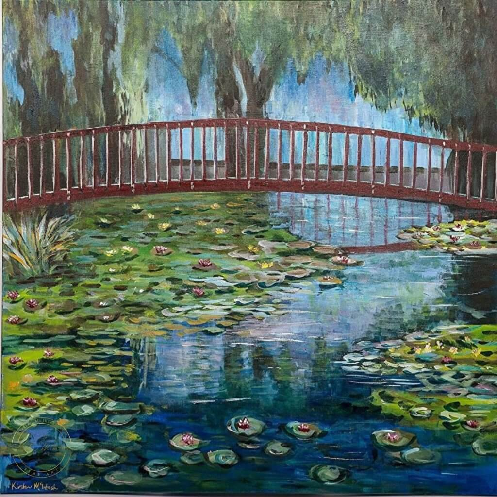 Original oil painting of Waterlillies at Te Koutu by Artist Kirsten McIntosh of Kirsten McIntosh Art.