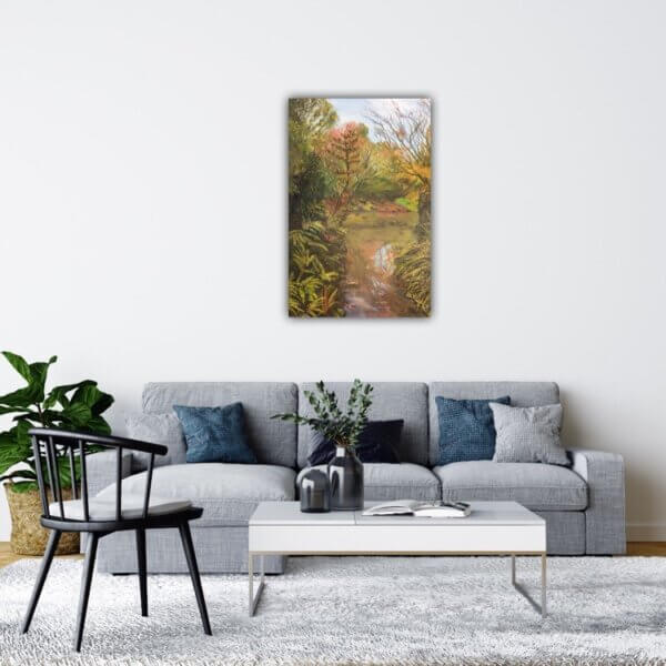 Original oil painting of Lost in Moments Insitu by artist Kirsten McIntosh